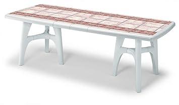 IDEA TABLES TABLES TABLE EXTÉRIEUR VÊTEMENTS TABLE À RALLONGE EN PLASTIQUE-TABLE DE JARDIN TABLE TABLE POUR EXTÉRIEUR BLANC 170220IDEAPIU