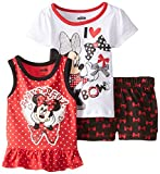 Disney Baby Girls' 3 Piece Minnie Mouse Bowtiful Short Set