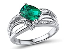 buy Lab Created Emerald Twist Ring Cushion Shape With Diamond Accents In Sterling Silver