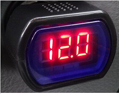 Esscoe Car Vehicle Cigarette Lighter Voltmeter Voltage Meter Car Battery Led/Led Display Cigarette Lighter Electric Voltage Meter Auto Dc 8V-30V Car Battery Led Display Digital Car Volt Meter Vehicle Voltage Gauge