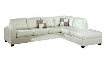 2 pc Reversible Cream bonded leather match sectional sofa with chaise lounge