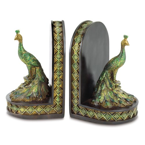 Gifts & Decor Peacock Bookends Office Library Decor Polyresin front-516180