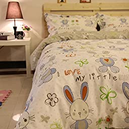 YOYOMALL 2015 New!Rabbit and Butterfly Bedding Set, Kids Duvet Cover Set,Cartoon Cotton Rabbit Duvet Covers,4Pcs.
