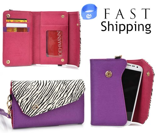 Safari Series Women'S Crossbody Mini Wallet Clutch // Purple Zebra For Samsung Galaxy Exhilarate Mobile + Envydeal Velcro Cable Tie