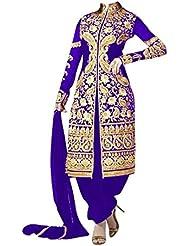 CmDeal Blue Color Designer Embroidered Georgette Semi-Stitched Salwar Suit-5207DLBT140-Blue