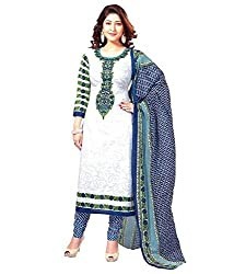 Awesome Fab White & Blue Colour Mix Cotton Printed Unstitched Dress Material