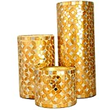 Mosaic Candle Holder , Pillar Candles Stand - Color Gold (Set Of 3)