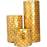 Coolethnic Decorative Antique Pillar Candle Holder - Gold & Onyx Mosaic (Set Of 3)