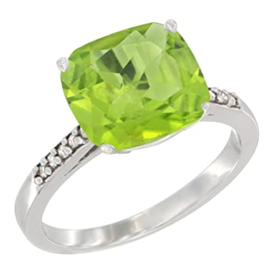 Revoni 14ct White Gold Natural Peridot Ring 9 mm Cushion-cut Diamond accent