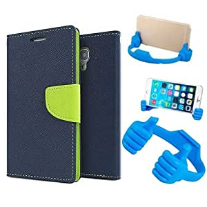 Aart Fancy Diary Card Wallet Flip Case Back Cover For Apple I phone 4 - (Blue) + Flexible Portable Mount Cradle Thumb Ok Stand Holder By Aart store