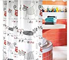 Fashion Waterproof Mildew Polyester Shower Curtain With Cat 180x180cm