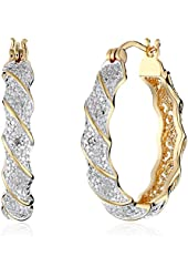 18k Yellow Gold-Plated Two-Tone Diamond Accent Twisted Hoop Earrings