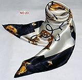 華麗な高級シルク調 花柄90角正方形大判スカーフ (NO.20)