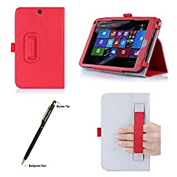 HP Stream 8 Case - ProCase Folio Stand Cover Case exclusive for HP Stream 8 Tablet (5901), with Hand Strap, bonus procase stylus pen (Red)