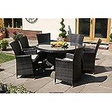 Milan Garten-Sitzgruppe, Rattan, 6 Stühle, 1 Tisch rund
