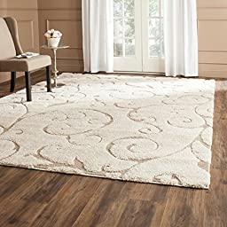 Sculpted Cream/Beige Shag Rug with Thick Pile (4\' Square)