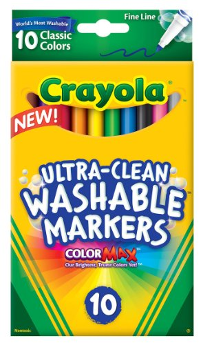 Crayola 10 Ct Ultra-Clean Fine Line Washable Markers, Color Max - 1
