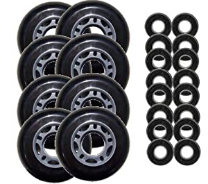 Black 72mm 82A Inline OUTDOOR Skate Wheels + ABEC 5
