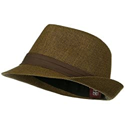 Solid Band Summer Straw Fedora - Brown Black W20S58B