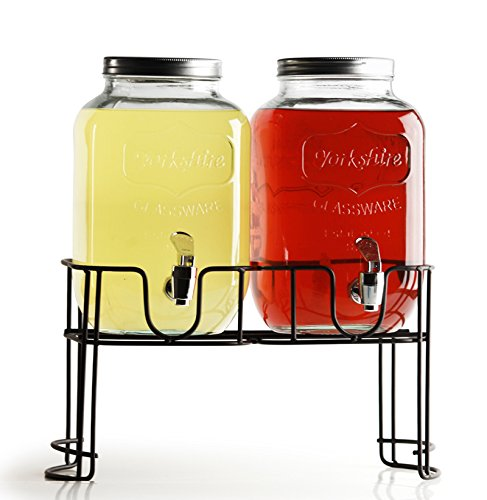 Circleware Yorkshire Mason Jar Double Glass Beverage Drink Dispenser with Decorative Metal Stand and Metal Lids, 1 Gallon Each (2 Gallon Beverage Dispenser Stand compare prices)