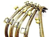 大きな がま口 25cm 口金 金具 アンティーク ゴールド 穴あき タイプ(25cm 5個)