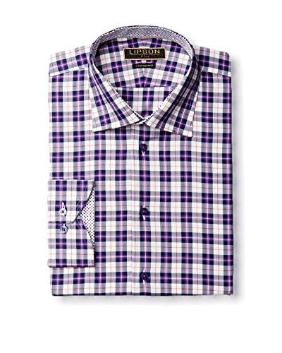 Lipson Shirtmakers Men's Plaid Spread Collar Dress Shirt with Contrast Trim