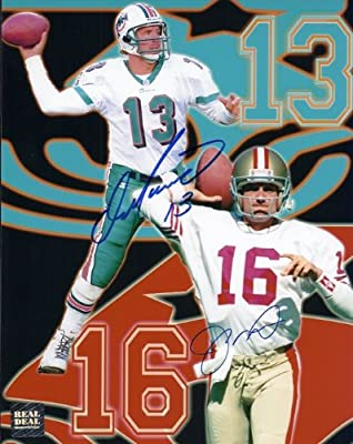Dan Marino and Joe Montana DUAL Autographed / Hand Signed 8x10 Photo - Miami Dolphins - San Francisco 49ers