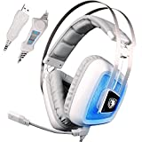 SADES A8 Stereo USB Gaming Headset Headphone with Mic Volume Control LED Light for PC MAC Computer Laptop -White