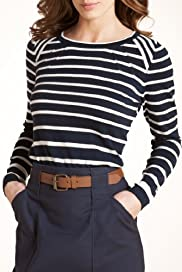 Autograph Cotton Rich Striped Knitted Jumper with Silk [T50-3417-S]