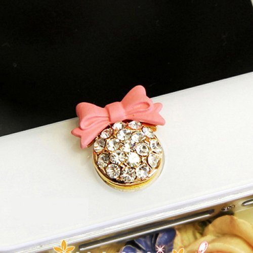 Cheapest Price! Pink bow with Bling Rhinestone Home Button Sticker for iPhone,iPad,iPod