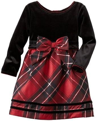 Youngland Little Girls' Long Sleeve Poly Taffeta Lurex Dress, Black Red, 3T