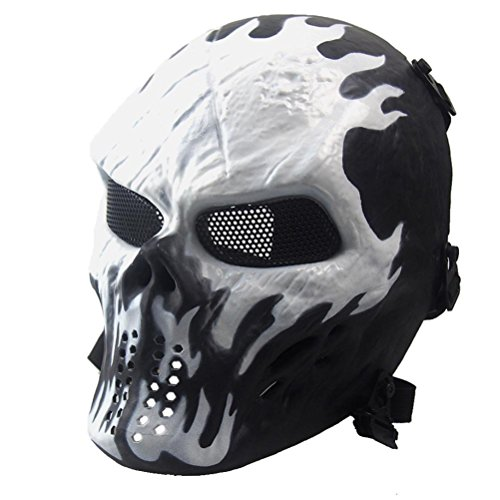 [EKIMI Mask Airsoft Paintball Full Face Skull Skeleton CS Mask Tactical Military Halloween (White)] (Jabbawockeez Costumes Halloween)