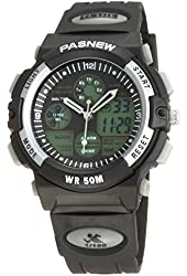 Pasnew 50m Water-proof Digital-analog Boys Girls Sport Digital Watch with Alarm Stopwatch Chronograph (Black)pse-048b