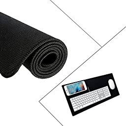 Gaming Mouse Pad, UNEGO Large Gaming Mouse Mat Soft Rubber Base Surface Textured Mousepad Silky Smooth- 23*11.5*0.1 Inch-Black (Non-slip, Ultra Thick, Stitched Edge)