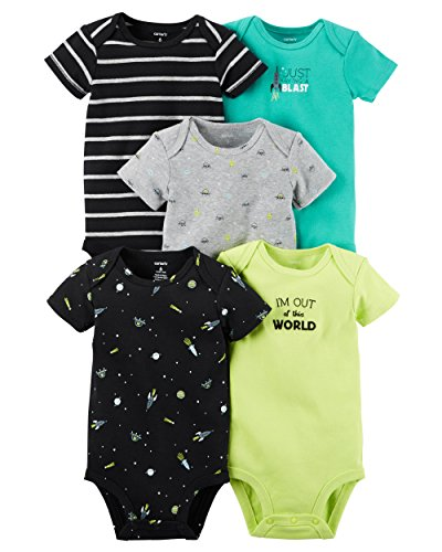 Carter's Baby Boys' 5 Pack Bodysuits (Baby) - Out of this World 9M