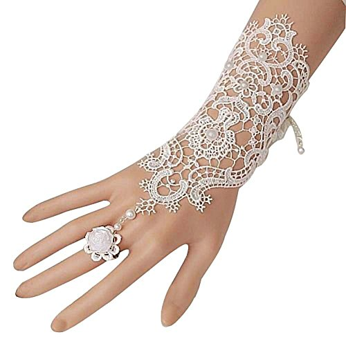 MisShow Fingerless Lace Bridal Wedding Gloves With Pearl Rose Pack of 1 Piece