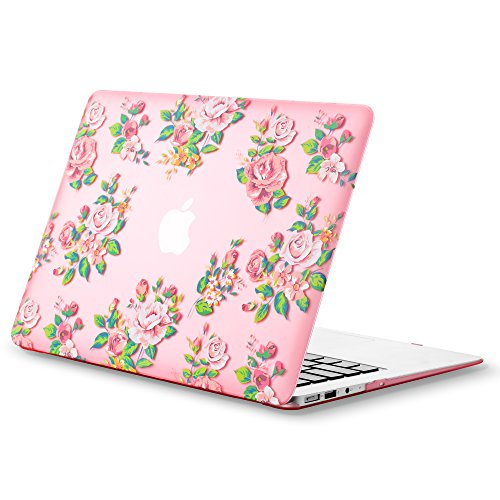 Kuzy - AIR 13-inch Vintage Flowers PINK Rubberized Hard Case for MacBook Air 13.3