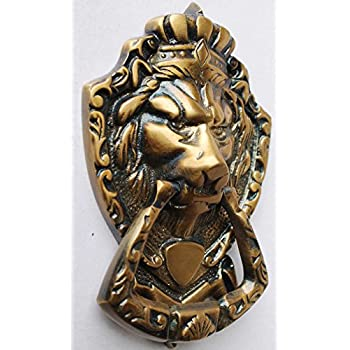 NEW Victorian Downing St Style Solid Brass Lion Head Door Knocker 6727