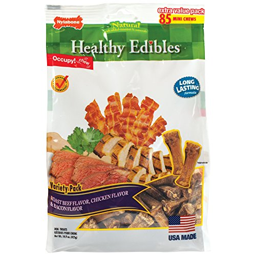 Nylabone 85 Count Healthy Edibles Mini Souper Dog Treat Bones in Variety Extra Value Pack (Nylabone Omega 3 compare prices)