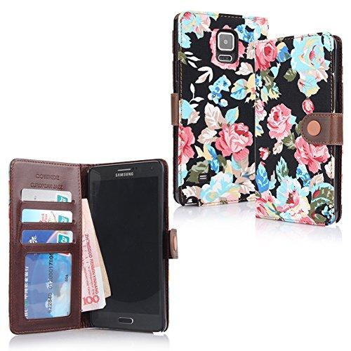 Jazz europeo Bag cartella floreale COWHIDE per Samsung Galaxy Note 4 Custodia protettiva da trasporto della copertura di caso dell''organizzatore di caso con slot per schede e coin tasca nero in Amburgo