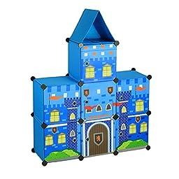 ARTSMAX DIY Child Storage Cupboard Prince / Princess Castle 7 Cubes Storage Combination Oxford File Storage Blue/ Pink (Blue)