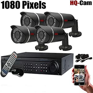 """HQ-Cam® 8Ch HD SDI Surveillance security DVR Camera system - 1080/D1 real time DVR with 4x Bullet 1/3"""" Panasonic Sensor 1080P Resolution IP67 Weatherproof Cameras included 1TB Hard drive,power suplies for CCTV Day and Night Home securiy"""