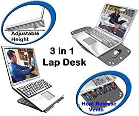 Compact & Lightweight 3 in 1 Laptop Accessory - Notebook Lap Desk - Laptop Stand - Cooling Pad for All Samsung GO N NC NF NP P RF RV SF X QX 10, 110, 120, 130, 210, 300, 305, 310, 350, 411, 460, 511, 515, 520, 711, 900 Laptop, Notebook, Netbook Computers