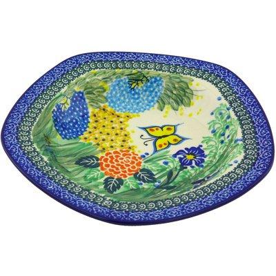 Polmedia Polish Pottery 9-Inch Stoneware Pasta Bowl H3454G Hand Painted From Ceramika Artystyczna In Boleslawiec Poland. Shape S593C(989) Pattern P4661A(U2211) Unikat