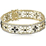 Yellow Gold-Plated Sterling Silver Sapphire Flower Bracelet, 7.5""