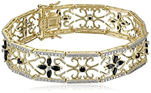 Yellow Gold Plated Sterling Silver Sapphire and Diamond Accent Flower Bracelet, 7.5""
