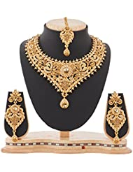 REEVA GLAMOROUS GOLD PLATED NECKLACE SET WITH PEARL AND LCT STONE
