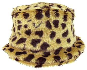 Capelli New York Allover Leopard Printed Faux Fur Structured Crown Bucket Hat Brown Combo