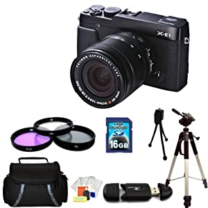 Fujifilm X-E1 with 18-55mm Lens + 16GB, Filter Kit, Case, Full Size Tripod, Cleaning kit Accessory Package