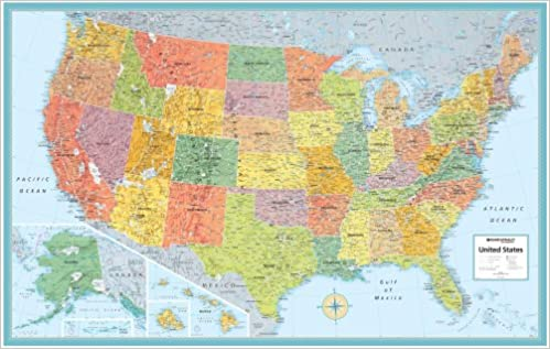 "Rand Mcnally Us Wall Map (M Series U.S.A. Wall Maps) 50""x32"": Rand ... US Wall Maps"